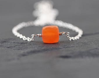 Carnelian Cube Necklace in Sterling Silver, Rose or Gold Filled. Orange Gemstone Choker. Dainty Layering Necklace. Boho, Bohemian Jewelry