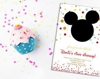 Mickey Mouse Invitation 1st birthday invitation First birthday invite Disney Boy birthday invites Polk dots Gold Glitter Printable DIY