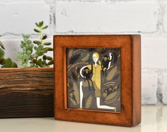 4x4 Square Photo Picture Frame in Deep Flat Style on Alder with Burnished Natural Finish - IN STOCK - Same Day Shipping - 4 x 4 Frame Rustic