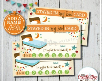 Stayed In My Bed Punch Cards | Editable Name | Punch Card | Orange | Children's Cards | Reward Card | Bedtime Punch Cards | Instant Download