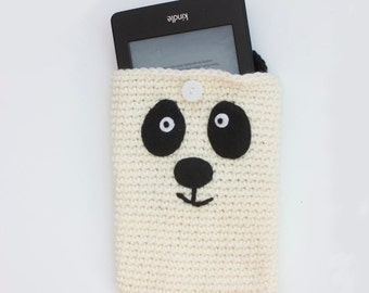 Crochet Panda Bear Kindle Case, White Panda E-Reader Cover, Gift for Child, Child's Gift, Stocking Stuffer