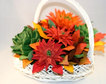 Autumn decoration handmade with clay flowers