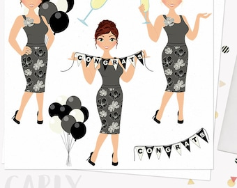 Congratulations celebration woman clip art, party balloons, champagne clipart, congrats girl, blonde, brunette and auburn hair (Carly L273)