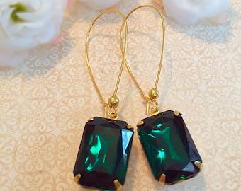 Emerald Earrings - Green Earrings - Art Deco Jewelry- Victorian Earrings - DORSET Emerald
