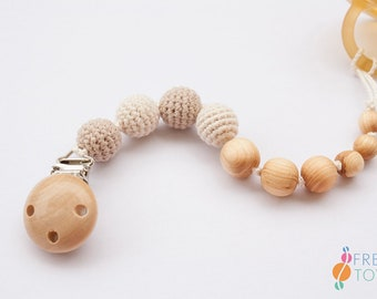 Wood Pacifier Clip | Organic Cotton, Juniper Wood | Soother Clip | Dummy Chain | Pacifier Chain | Baby Gift | Neutral Colors