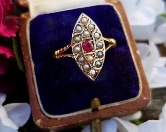 Antique 1900 Victorian 9ct Gold Pink Tourmaline and Pearl Navette Ring / Size Q 1/2