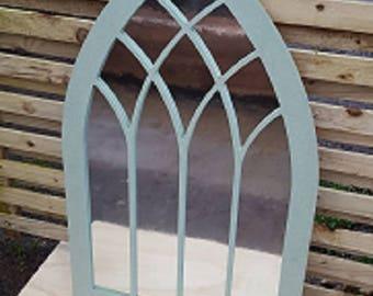VINYL Garden WALL MIRROR Cathedral Window Style