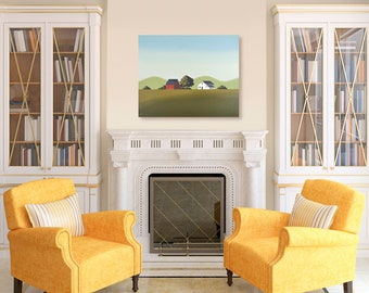 Original Painting - 24 x 30 Inches - Contemporary Painting - Green Mountain Farm