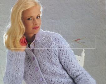 "Lady's Lace Cardigan 32-40"" Aran Sirdar 6190 Vintage Knitting Pattern PDF instant download"