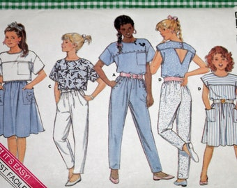 Butterick 5617, Vintage 1980s Sewing Pattern, Girls' Top, Skirt and Pants, Girls' Size 7, UNCUT, FF, OLD2NEWMEMORIES