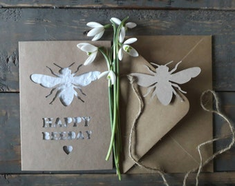 Plantable Seed Paper, Birthday Card, Wildflower seeds, Seeded Paper, Plantable Paper, Laser Cut Card, Flower Seed Paper, Bumble Bee,