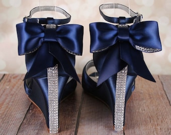 Blue wedding shoes pool blue kitten heels with simple navy blue wedding shoes navy blue bridal heels bow wedding shoes wedding bling wedge wedding shoes wedges peep toes blue bridal shoes junglespirit Images