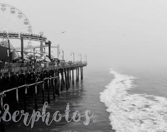 Foggy Santa Monica Pier - Black and White