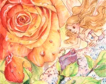 "ACEO Eye of the Rose, 3.5x2.5"", Limited Edition Print, whimsical rainbow flower fairy fantasy illustration"