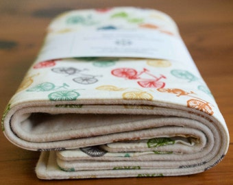 Gift for New Dad; Bike Burp Cloths; Organic Cotton Bicycles Baby Burping Pads; Modern Baby Gift Cyclist; Handmade in Canada; Ride (Last Set)
