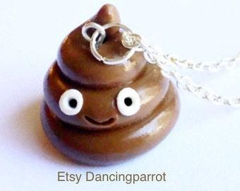 Handmade poop necklace poop jewelry poop gift white elephant cute gag gift kawaii poop kawaii necklace poop emoji necklace happy poop emoji