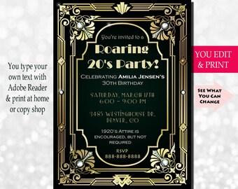 30th Birthday Invitation, Gatsby Invitation, Gatsby Birthday Invitation, Great Gatsby Birthday Invitation, Edit Yourself in Adobe Reader