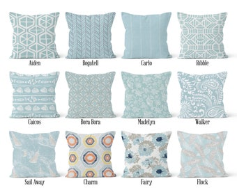 Light Blue Pillow Cover, Decorative Throw Pillow Covers, Euro Pillow Sham 16 x 16, 18 x 18, 20 x 20, 22 x 22, 24 x 24, 26 x 26