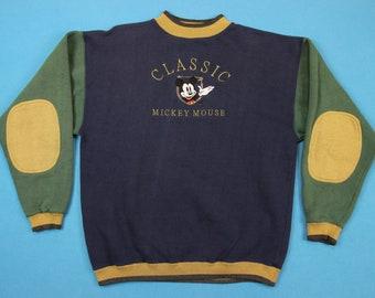 90s Mickey Mouse Sweatshirt ~ L // Vintage, Walt Disney, Color Block, Elbow Pads, Classic, 1990s, Stitched, Crewneck Pullover, Shirt, Large