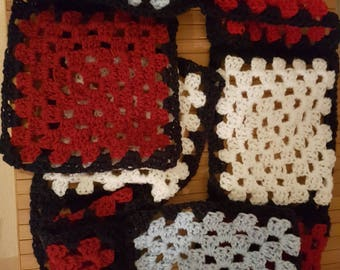 Crochet granny square red, white and blue handmade scarf suitable for men or women