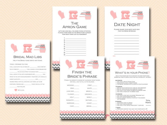 pink kitchen theme bridal shower game pack cooking theme