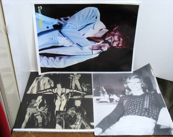 Vintage David Bowie Poster Lot of 3 Ziggy Stardust Color & Black/White Glam Rock Poster