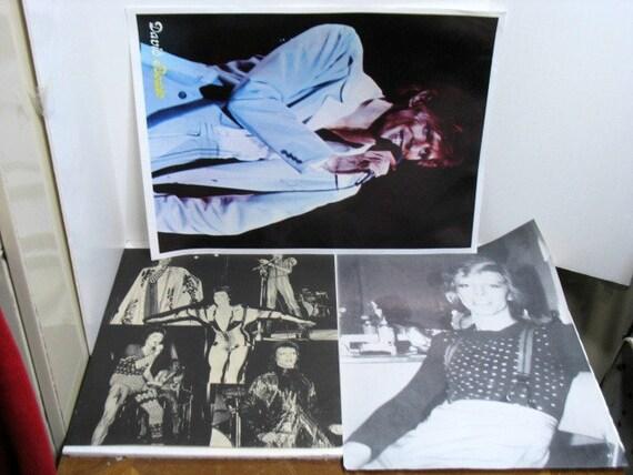 Vintage David Bowie Poster Lot of 3 Ziggy Stardust Color & Black/White Glam Rock Poster