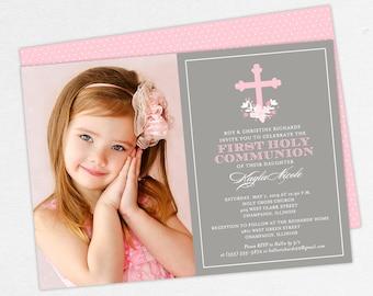 Pink Communion Invitations, Girl Communion Invitations, Photo First Communion Invitations, Flower Communion Invitations, Printable Invites