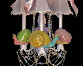 Nursery Chandelier - Whimsical Garden Snails - Kid's Lighting - Ceiling Fixture