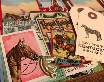 Horse Ephemera Paper Lot Scrapbook Journal Planner Kentucky Derby Racing