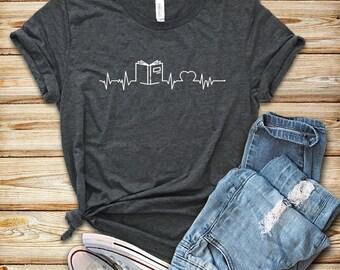Book Heartbeat / Shirt / Tank Top / Hoodie / Reading Shirt / Book Shirt / Book Lover Gift / Librarian Shirt / Bookworm Shirt / Teacher Shirt