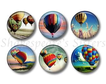 Hot Air Balloon - Fridge Magnets - 6 Magnets - Hot Air Balloon Magnets - 1.5 Inch Magnets - Kitchen Magnets