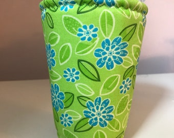 Blue/Green Floral Iced Coffee Cozy Sleeve