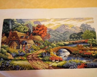 Farm scene Finished Cmpleted Cross stitch