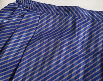 Vintage blue brown stripe pleated midi skirt
