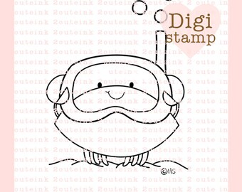 Snorkel Crab Digital Stamp - Crab Digital Stamp - Crab Clip Art - Ocean Art - Summer Card Supply - Summer Craft Supply