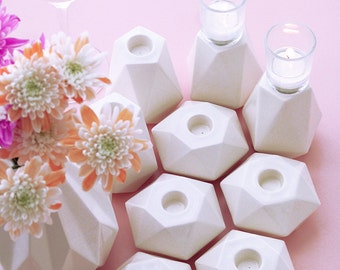 Mother's day gift, white ceramic, CREATE YOUR DESIGN of Geometric candle holders set, choose how many of pentagon and hexagon  candlesticks