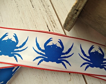 Nautical Blue Crab Wired Ribbon