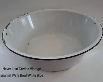 Large Bowl Enamel Ware White and Cobalt Blue Vintage