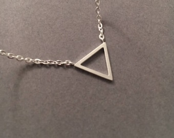 Triangle Necklace, Geometric Necklace, Layering Necklace, Silver Triangle Necklace, Minimal Necklace, UK Seller