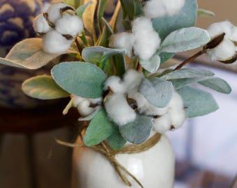 Cotton arrangement, rustic arrangement, farmhouse arrangement, second anniversary gift, primitive arrangement, lambs ear arrangement