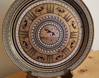 Greek Etruscan Reproduction of Enamel on Copper Platter