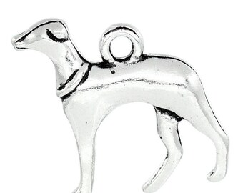 lot 5 charm pendant dog Greyhound metal 20x19mm