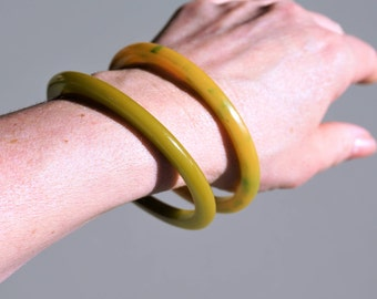 Vintage Bakelite Bangle Bracelet set of 2 Yellow Lemon Lime- Circa 1940's