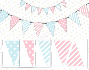 Pink and blue baby shower banner (INSTANT DOWNLOAD) - Polka dot banner - Pink and blue garland - Printable banner - Gender reveal banner