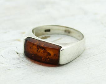 Amber ring sideways rectangular shape dark cognac stunning delicate 925 sterling silver baltic amber cabochon set in silver 925 not plated