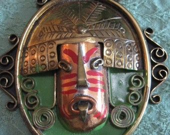 Casa Maya mixed metals Aztec mask pendant