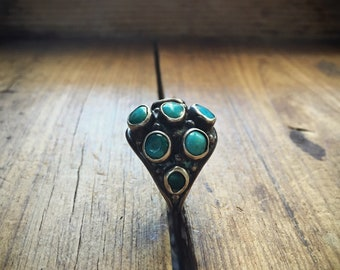 Vintage Turquoise Ring Navajo Jewelry, Southwest Turquoise Jewelry, Old Pawn Silver Turquoise Native American Indian Ring Gift for Woman Her