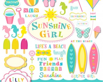 Beach surf clipart set 42 items Commercial and Personal Use Surfing Sunshine Girl INSTANT DOWNLOAD