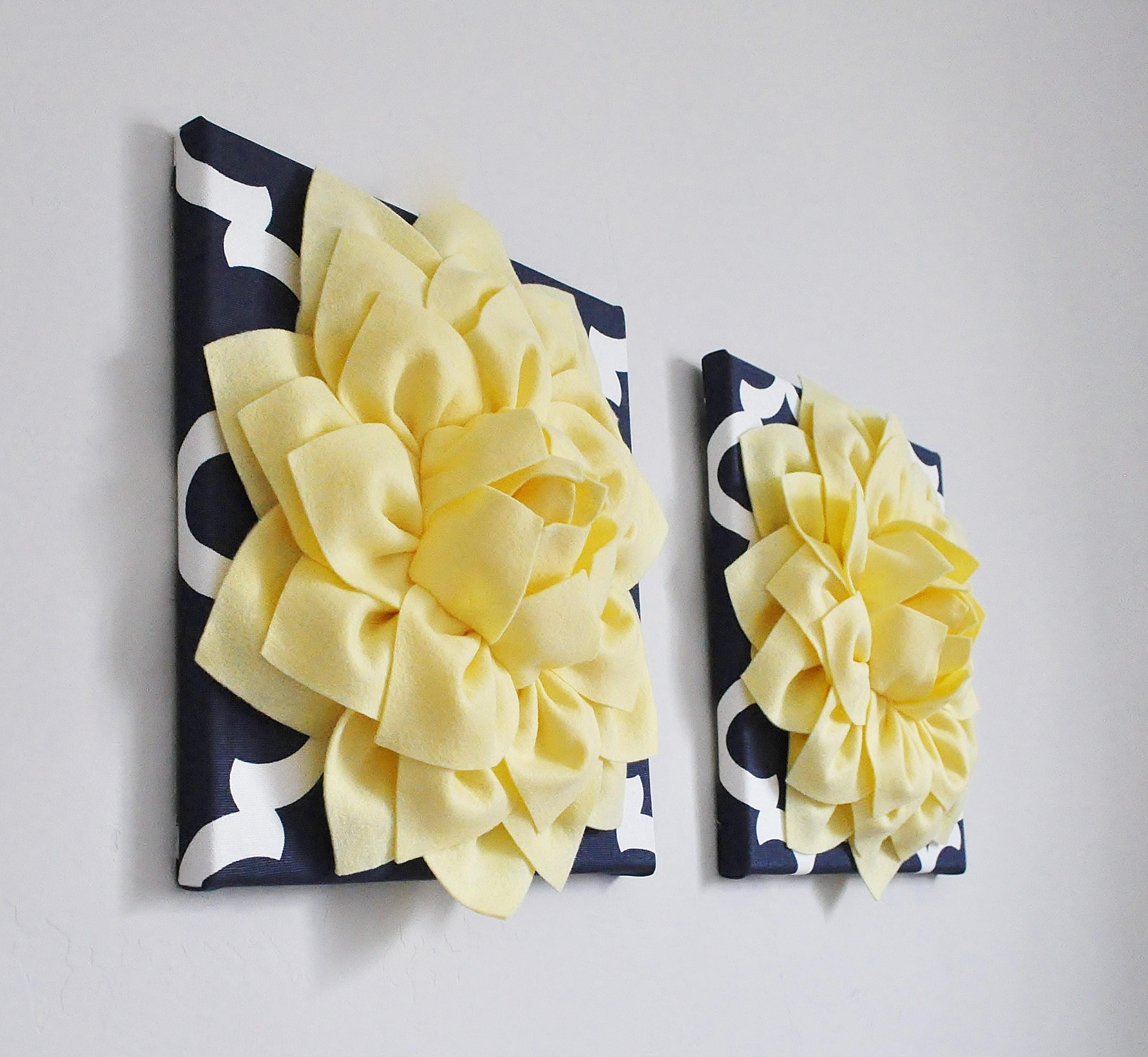 Light Yellow and Navy Moroccan wall hanging Set Set of 2